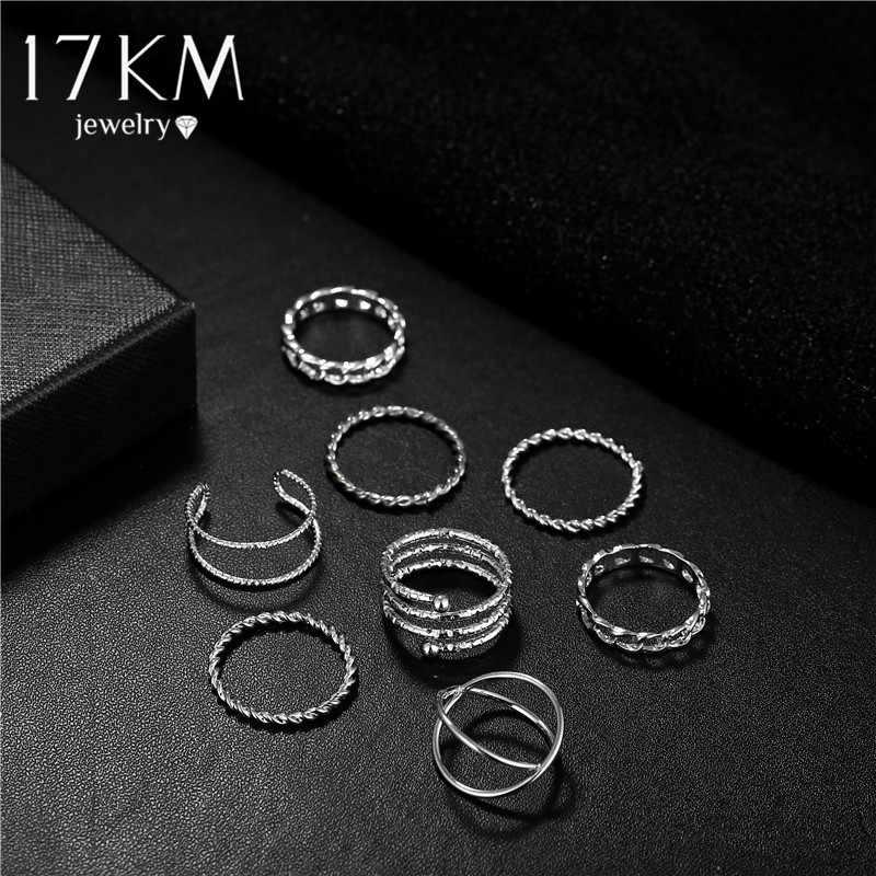 Moda złoty Sliver Twisted zestaw pierścieni dla kobiet dziewczyn 2019 Vintage okrągły pierścień Knuckle pierścienie 8 sztuk/zestaw kobiet PUNK DIY biżuteria