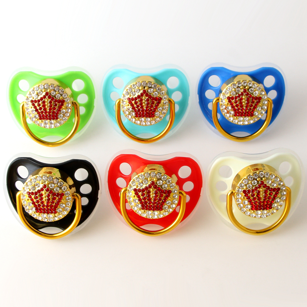 Red Crown Pacifiers For Baby 0-18 Months Baby Pacifiers BPA Free Bling Pacifiers Food Grade Baby Soother Nipples