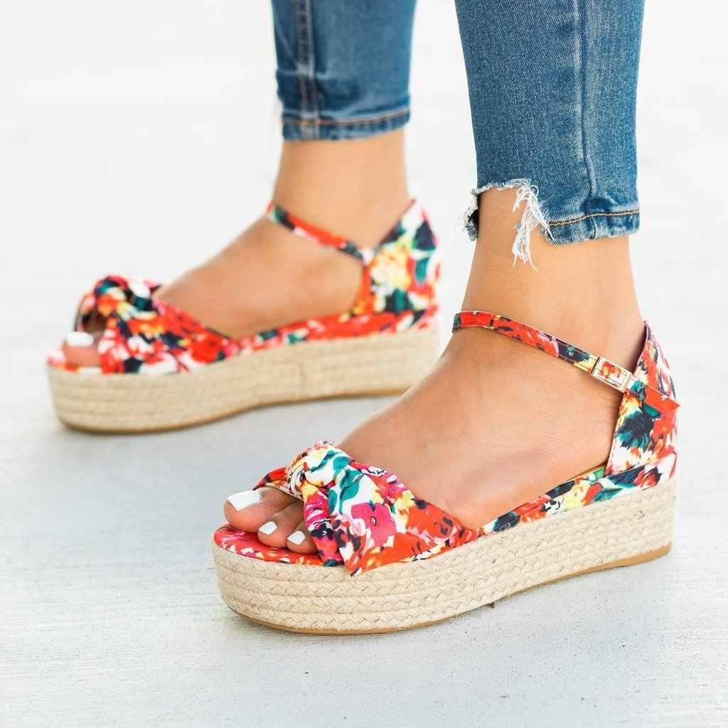 Delle Donne dei sandali Con Zeppa Scarpe di Canapa Bow-nodo Metà Talloni Dei Sandali di Estate 2020 Flop Chaussures Femme Fibbia Sandali Della Piattaforma Feminina