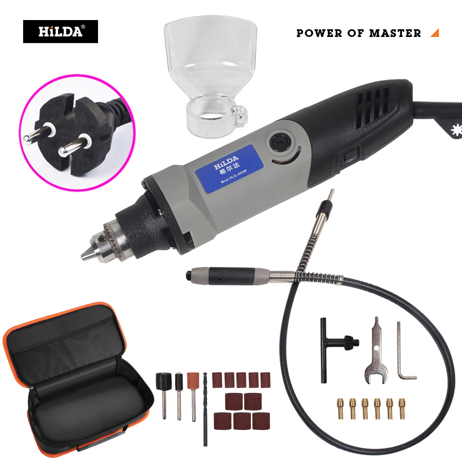 HILDA 400W Mini Electric Drill Grinder  Variable Speed Dremel Style Rotary Tool Mini Drill With Flexible Shaft And Accessories