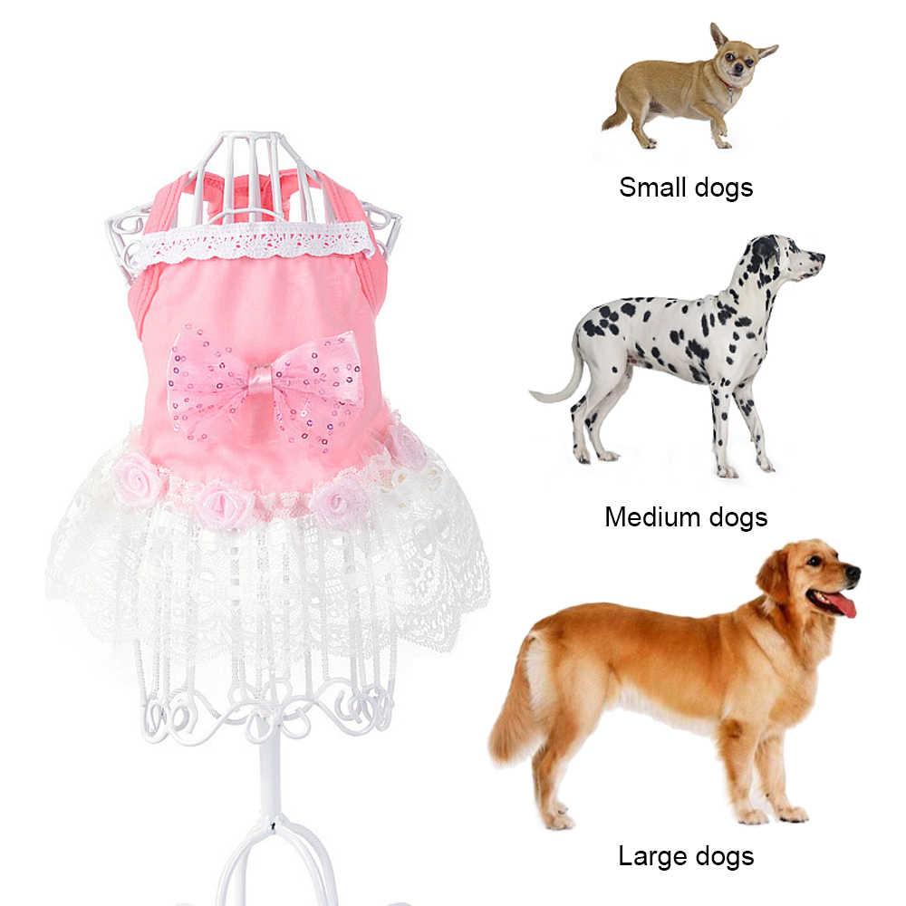 Ropa de perro gato mascota moda pequeño perro gato princesa encaje vestido falda traje de verano para mascota de peluche vestido con falda de princesa