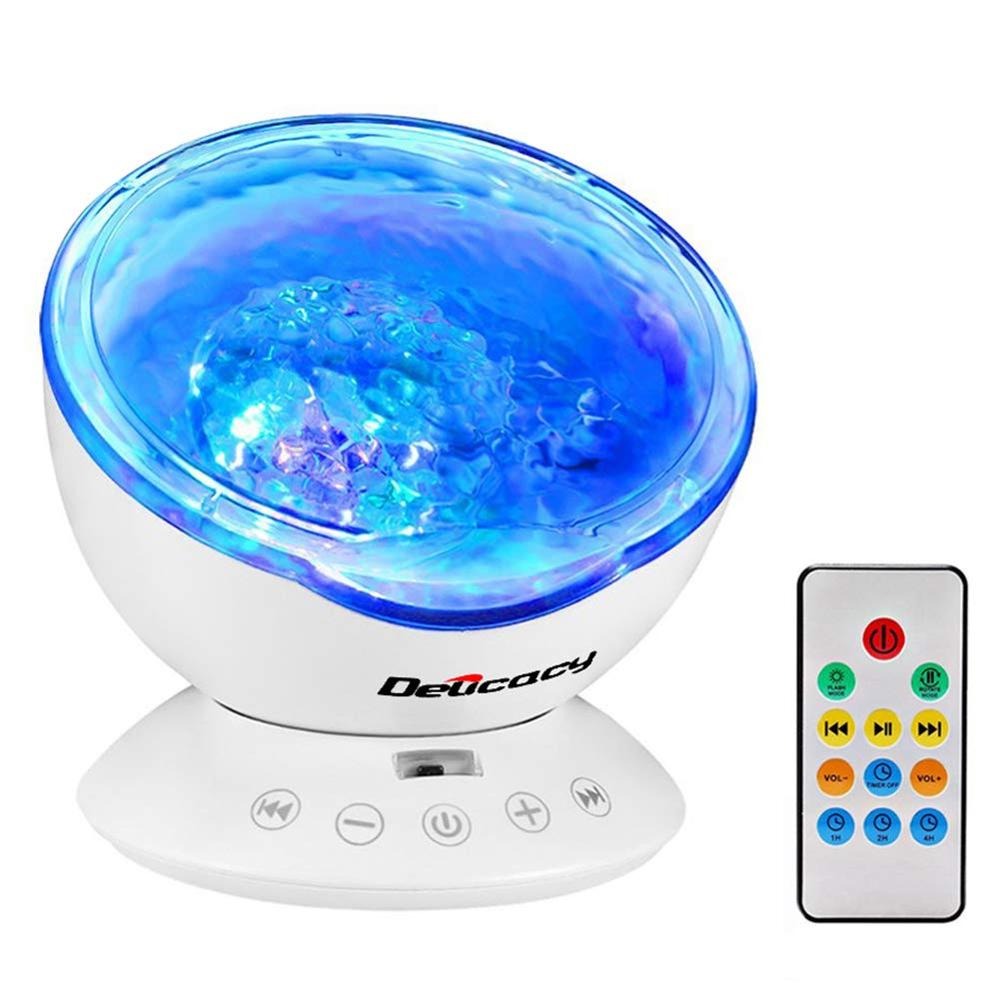 Ocean Wave Projector Night Light 12 LED Remote Control Undersea Projector Lamp With 7 Color Changing Music Player For Kids Adult