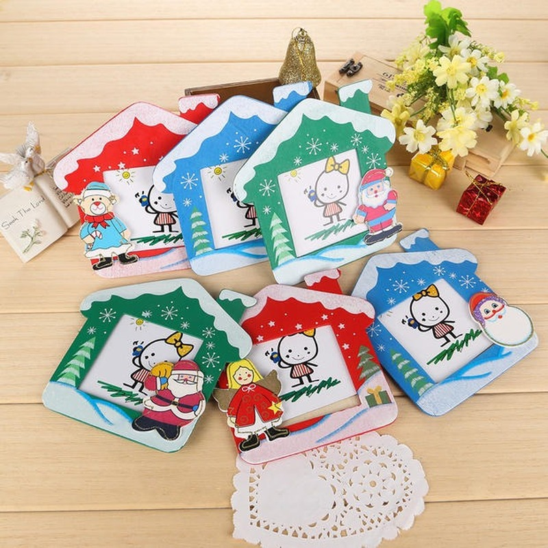 Christmas old man snowman wooden cute photo frame children creative student small gifts holiday supplies wholesale