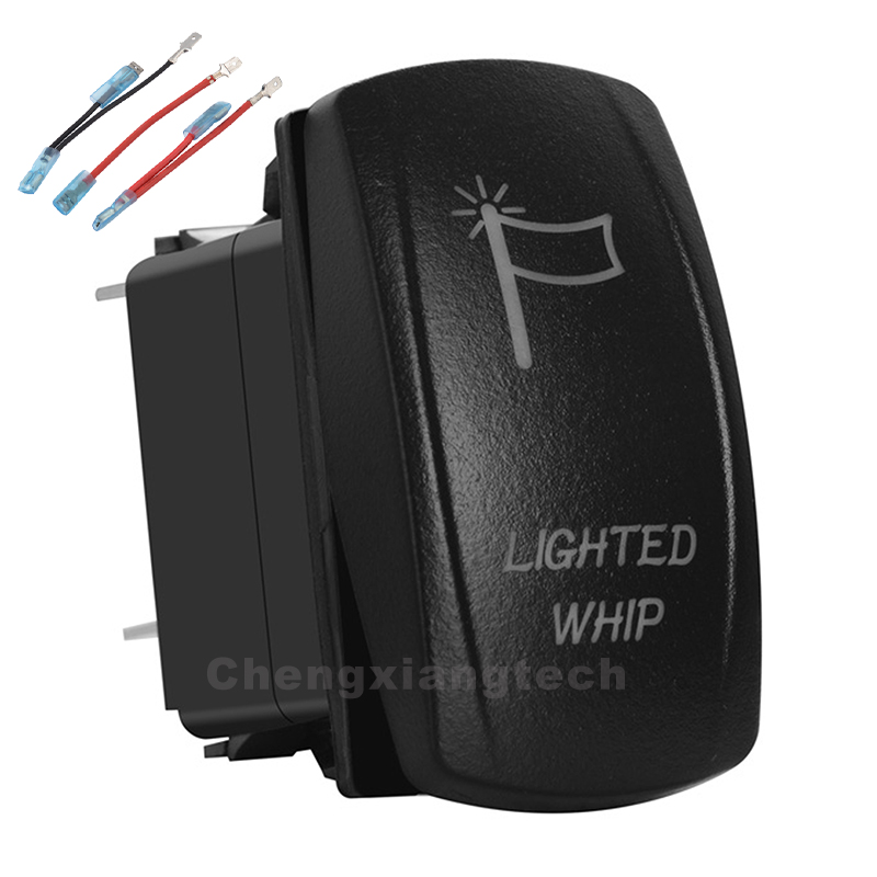 Lighted Whip Red Led 12v/24v Toggle Rocker Switch 5 Pins SPST ON/OFF + Jumper Wires Set For Car Boat Truck Waterproof