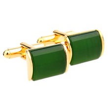 Romantic Green And Gold Cufflinks Imitation Crystal Cuff links French Cuff links Nail Sleeve Button For Wedding(China)