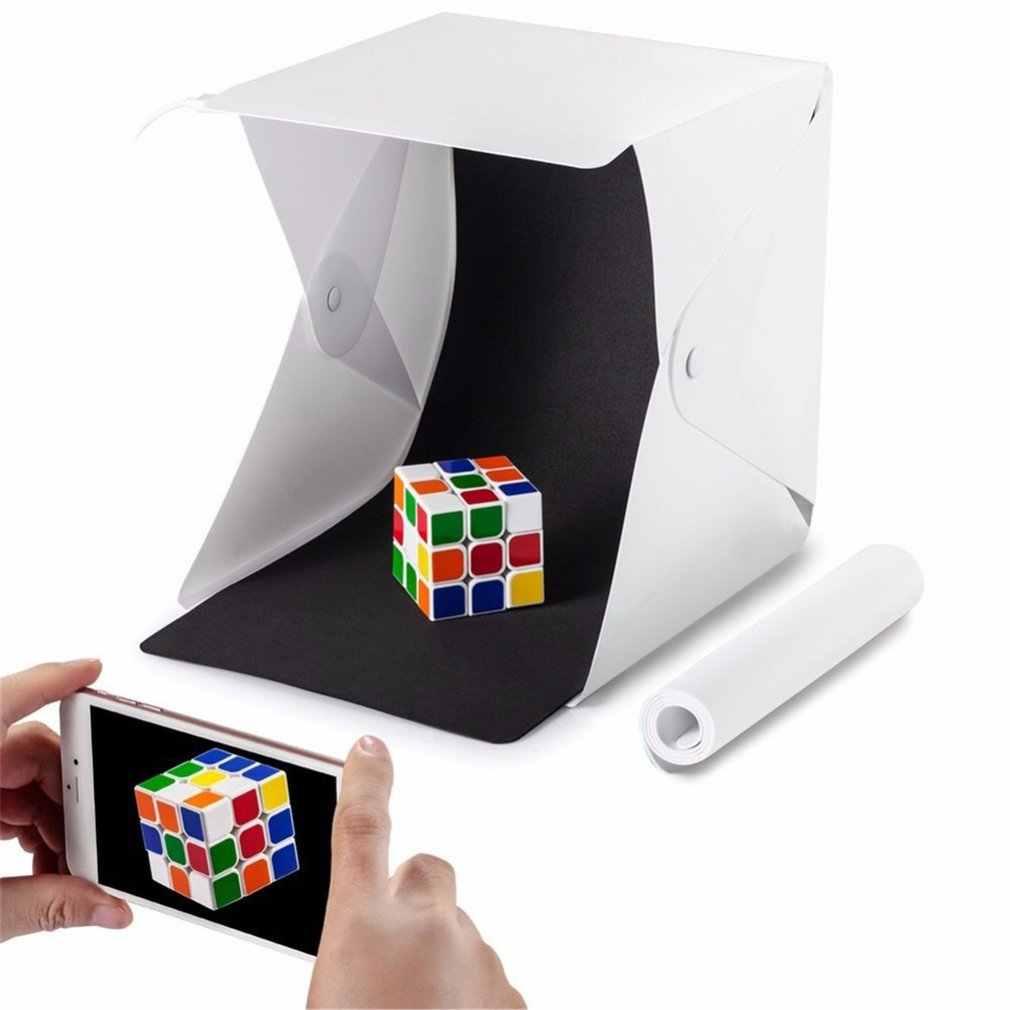 Mini Lipat Lightbox Fotografi Foto Studio Softbox Lampu LED Lembut Box Foto Latar Belakang Kit Kotak Cahaya Kamera DSLR 2020New