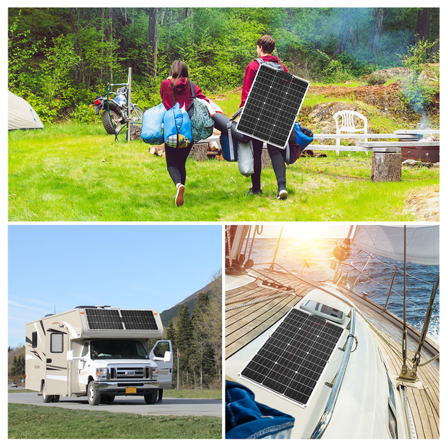 DOKIO Brand Solar Battery 50W Flexible Solar Panel 50W 12V 24v Controller +10A Solar System Kits for Fishing Boat Camping/car 6