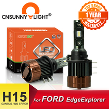 CNSUNNYLIGHT PLUG PLAY H15 Car LED Headlight Bulbs CANBUS 12000Lm 6000K Day Running Lights DRLs Replace For FORD Edge/Explorer