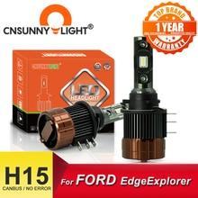 CNSUNNYLIGHT PLUG PLAY H15 voiture ampoules de phares LED CANBUS 12000Lm 6000K jour feux de course DRLs remplacer pour FORD Edge/Explorer