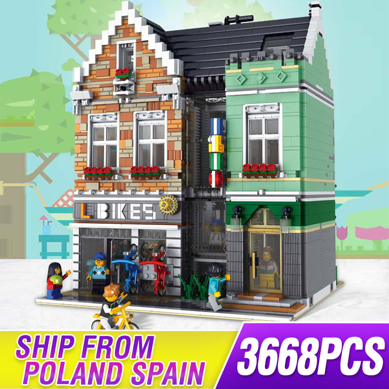 MOC Lepining 10185 streetscape Creative City commercial street Bike Shop House model Building Block bricks Kits Brick ToyS gifts