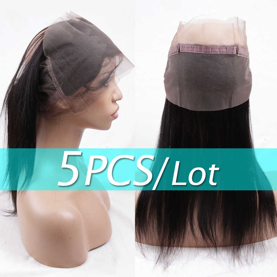 Jarin 5 Pieces/lot Brazilian Straight Hair 360 Lace Frontal Free Part Remy 100% Human Hair Swiss Lace Closure Medium Brown