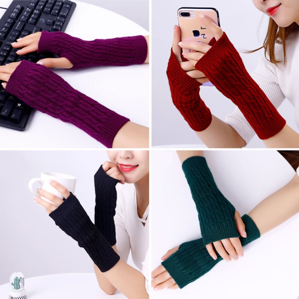 Sparsil Women Cashmere Gloves Fingerless Winter Crochet Knitted Mittens Half Finger Wrist Sleeve 22cm Female Elastic Warm Glove