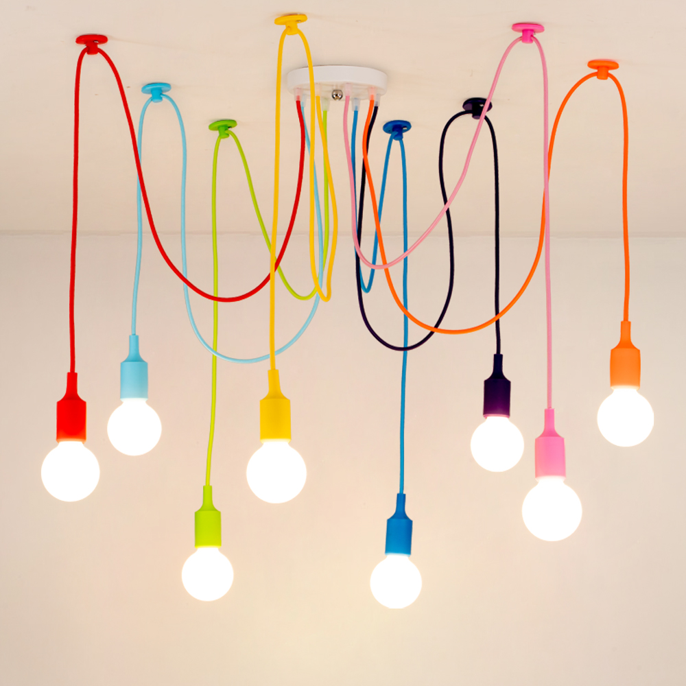 Modern Pendant Lights 13 Colors DIY Lighting Multi-color Silicone Pendant Lamp Bulb Holder Lamps Home Decoration Fabric Cable