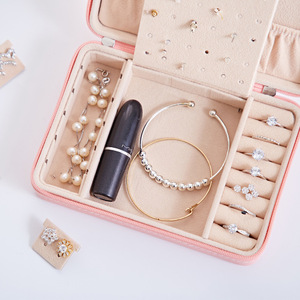 Image 4 - Jewelry Box Travel Comestic Jewelry Casket Organizer Makeup Lipstick Storage Box Beauty Container Necklace Birthday Gift