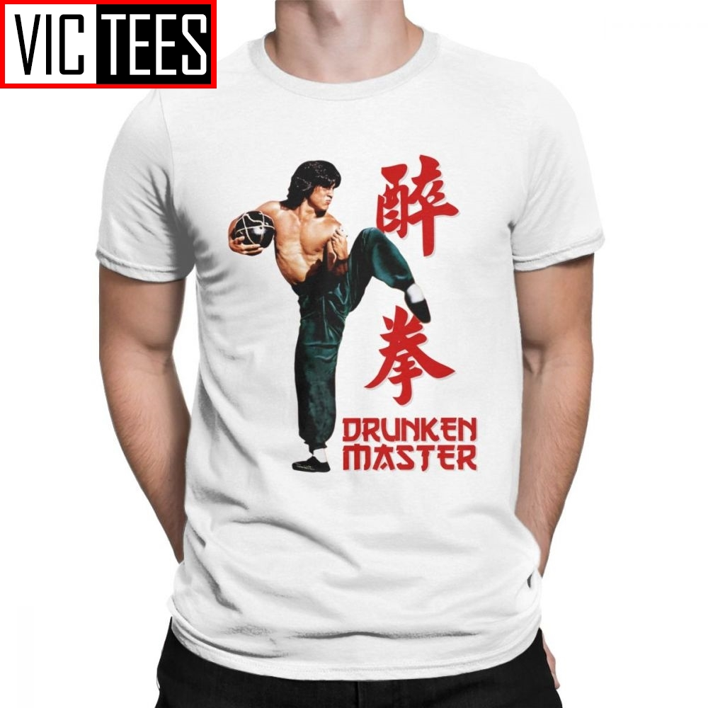 Jackie Chan Drunken Master T-Shirts Men Pure Cotton T Shirt Movie Chinese Dragon China Kung Fu Fight Tees New