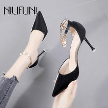 Pointed Toe Rhinestone Women Pumps NIUFUNI Stiletto Pearl High Heels Buckle Chain Ladies Sandals Wedding D'Orsay Shoes For Women faux pearl pointed toe stiletto heels