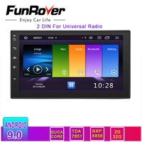 Funrover 2 DIN Car Multimedia Player radio Andriod 9.0 for Universal GPS Navigation HD Autoradio Car Audio Radio Stereo No dvd