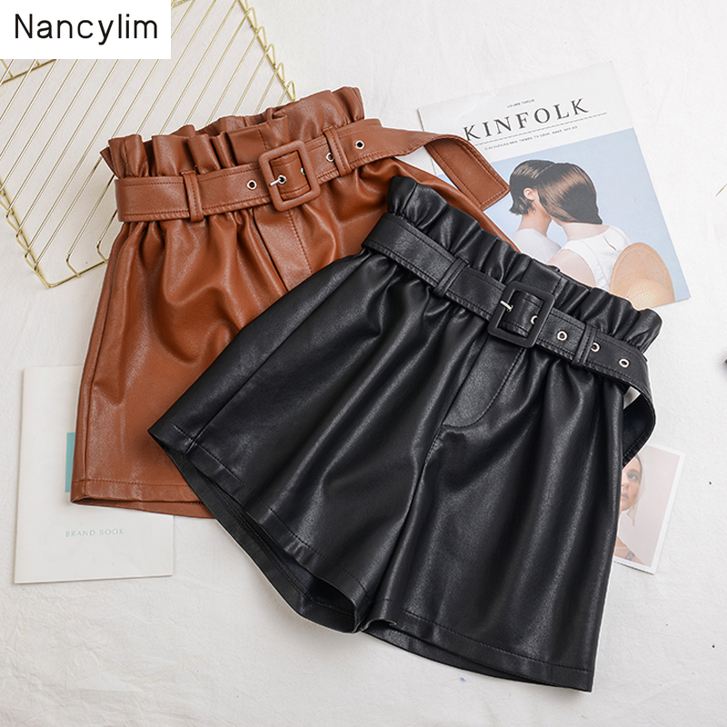 Plus Size Elastic Waist Leather Shorts Women's New Autumn And Winter High Waist Wide Legs Loose PU Leather Boots Shorts Women