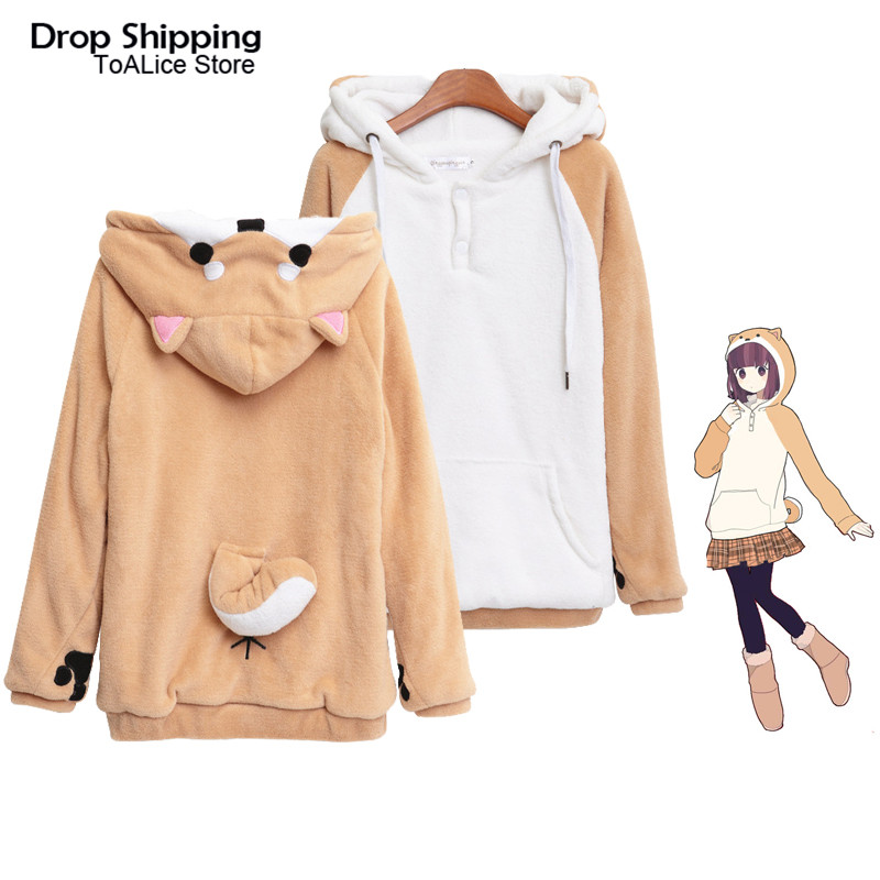 Harajuku Shiba Inu Doge Kawaii Hoodies Women Sweatshirts With Ears Hooded Plush Coat Cartoon Anime Warm Winter Sweatshirt