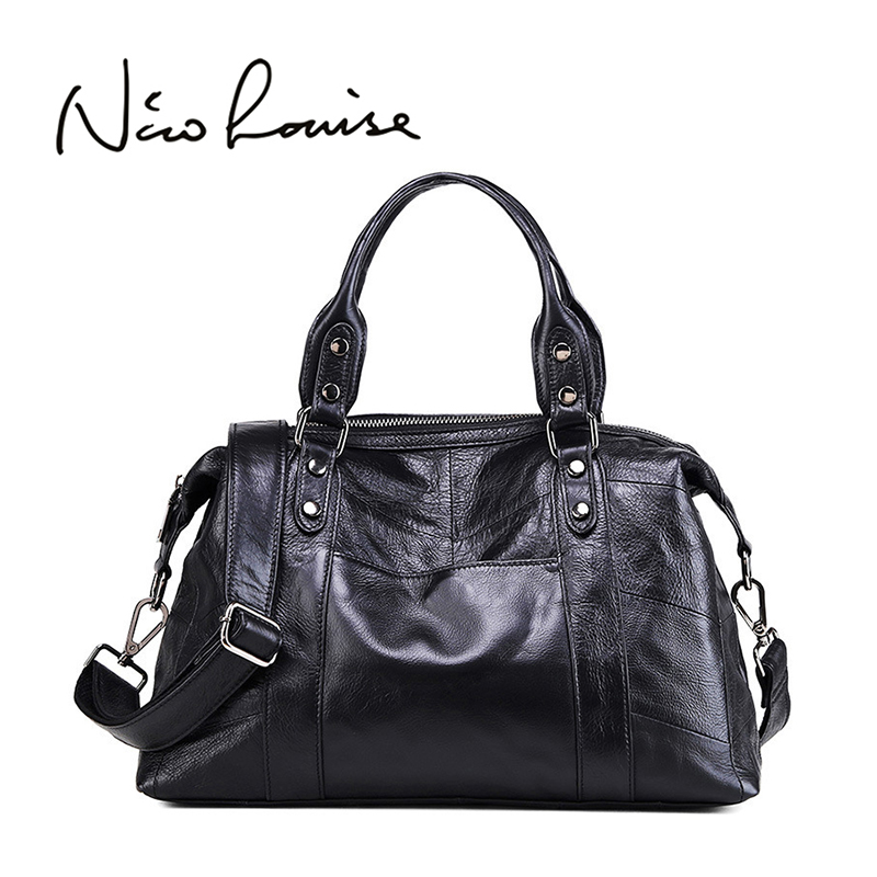 Nico Louise Luxury Women Genuine Leather Tote Bag,New Leisure Large Top-handle Bags Lady Casual Crossbody Solid Shoulder Handbag