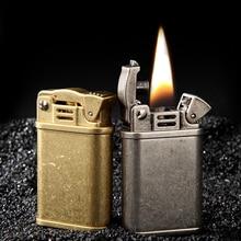 Retro Copper Flint Lighter Brass Metal Men Gadgets Kerosene Oil Gasoline Lighter Gas Grinding Wheel Cigarette Cigar стоимость