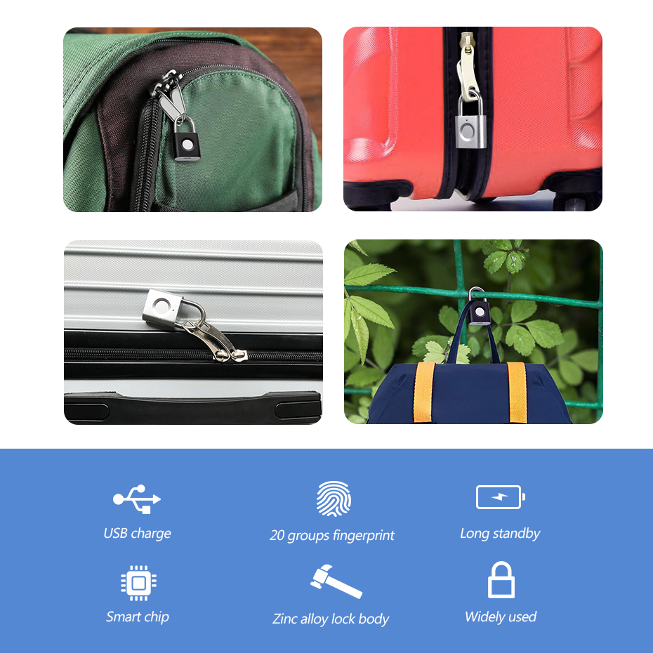 Image 5 - Mini keyless Fingerprint Unlock Anti Theft USB Padlock Door Lock for Door Footprint padlock Locker Box Cabinet Drawer lockElectric Lock   -