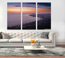Modern Colorful Photo Picture city coastline Room Decor 3 pcs Cities Canvas Art Painting Living Bedroom
