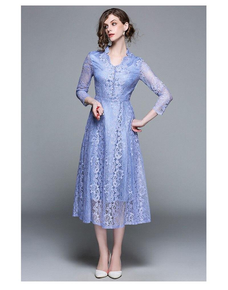 Tenue décontractée femme 5XL grande taille robe 2019 automne robes femmes grande taille couleur unie dentelle soirée bal Vestido