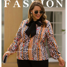 цена на Plus Size Autumn Winter Women Tees Casual Leopard Printed Long Sleeve Tops Long Sleeve T Shirt Fashion Ladies Regular Top Tees