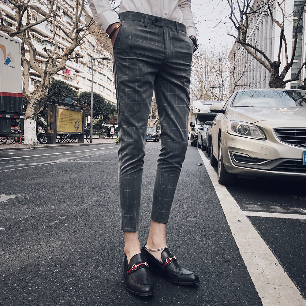 2019 Dress Suit Pant Man Plaid Suit Pant Men Brand Designer Gentlemen Business Casual Work Pant Men Bare Foot Trousers