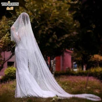 TOPQUEEN V08 Luxury Wedding Veils and Headpieces Bridal Veil Headband  Pearl for Brides White Women Ivory