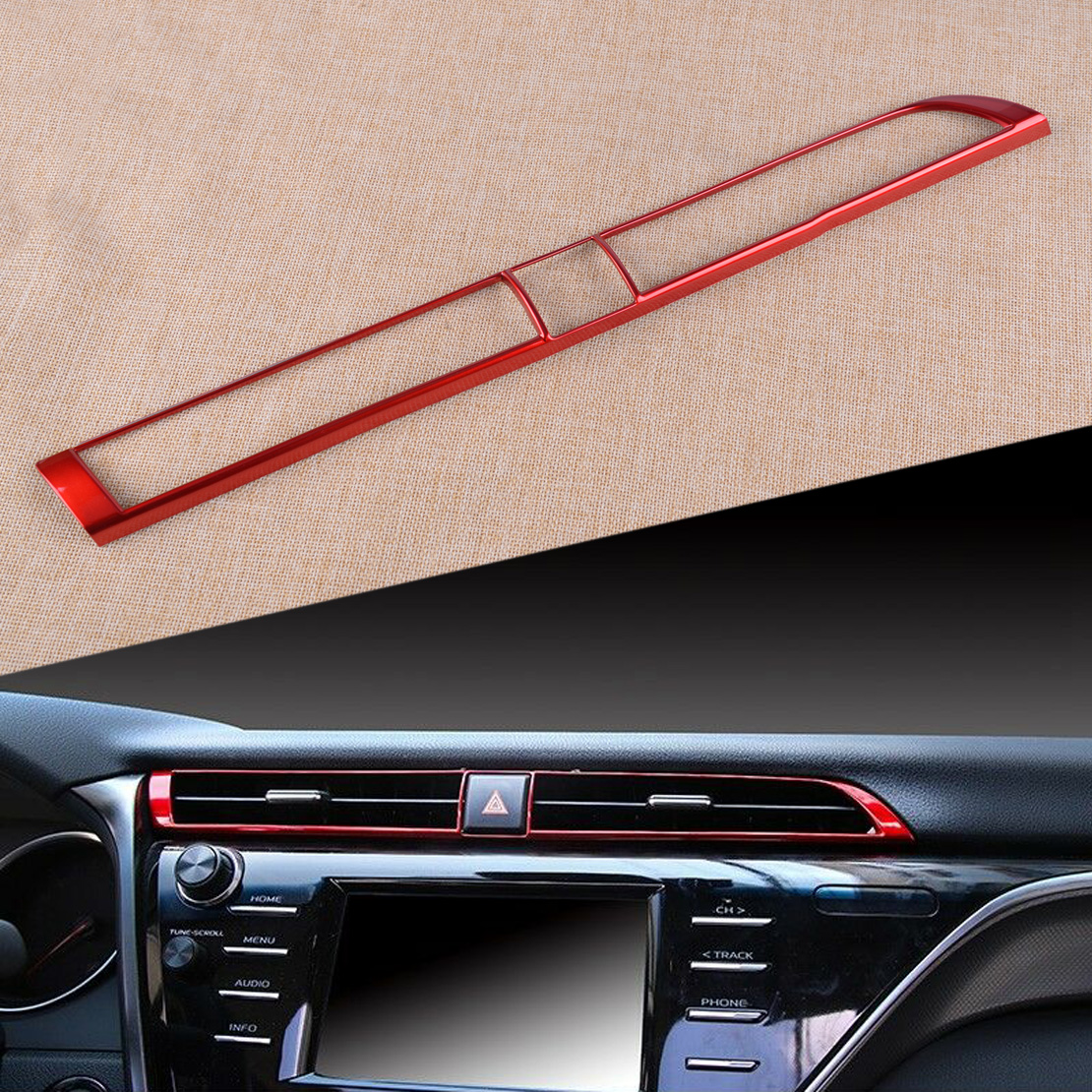CITALL Red ABS Car Console Central Middle Air Vent Outlet Cover Trim Frame Fit For Toyota Camry 2018 2019