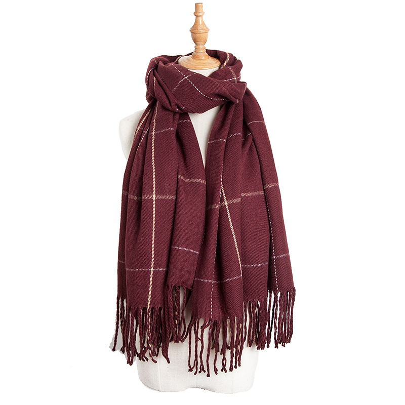 European And American Style Autumn And Winter New Cashmere Big Check Scarves Increase The Flow Of The Sassou Gruffle