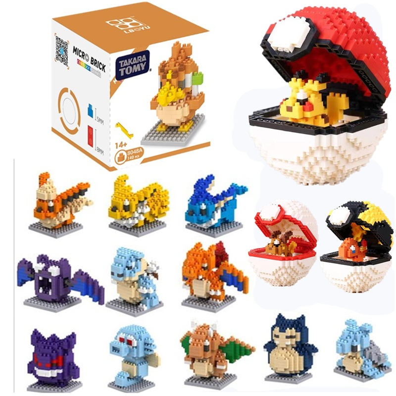Compatible Legoed Cartoon Kawaii Poke Anime Ball Set Pikachued Diamond Mini Building Blocks Pokemon Bricks Toys Game