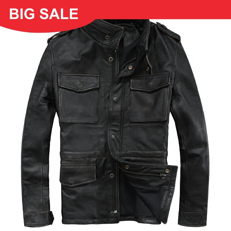 2020 Vintage Black Men M65 Leather Jacket Plus Size 4XL Genuine Thick Cowhide Russian Natural Safari Leather Coat FREE SHIPPING