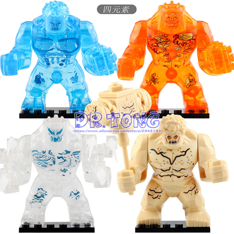 Single Sale <font><b>XH1255</b></font>-11258 Building Blocks Big Size Elementals Sandman Cyclone Hellfire Hydro-man Zephyr Hydron Toys image