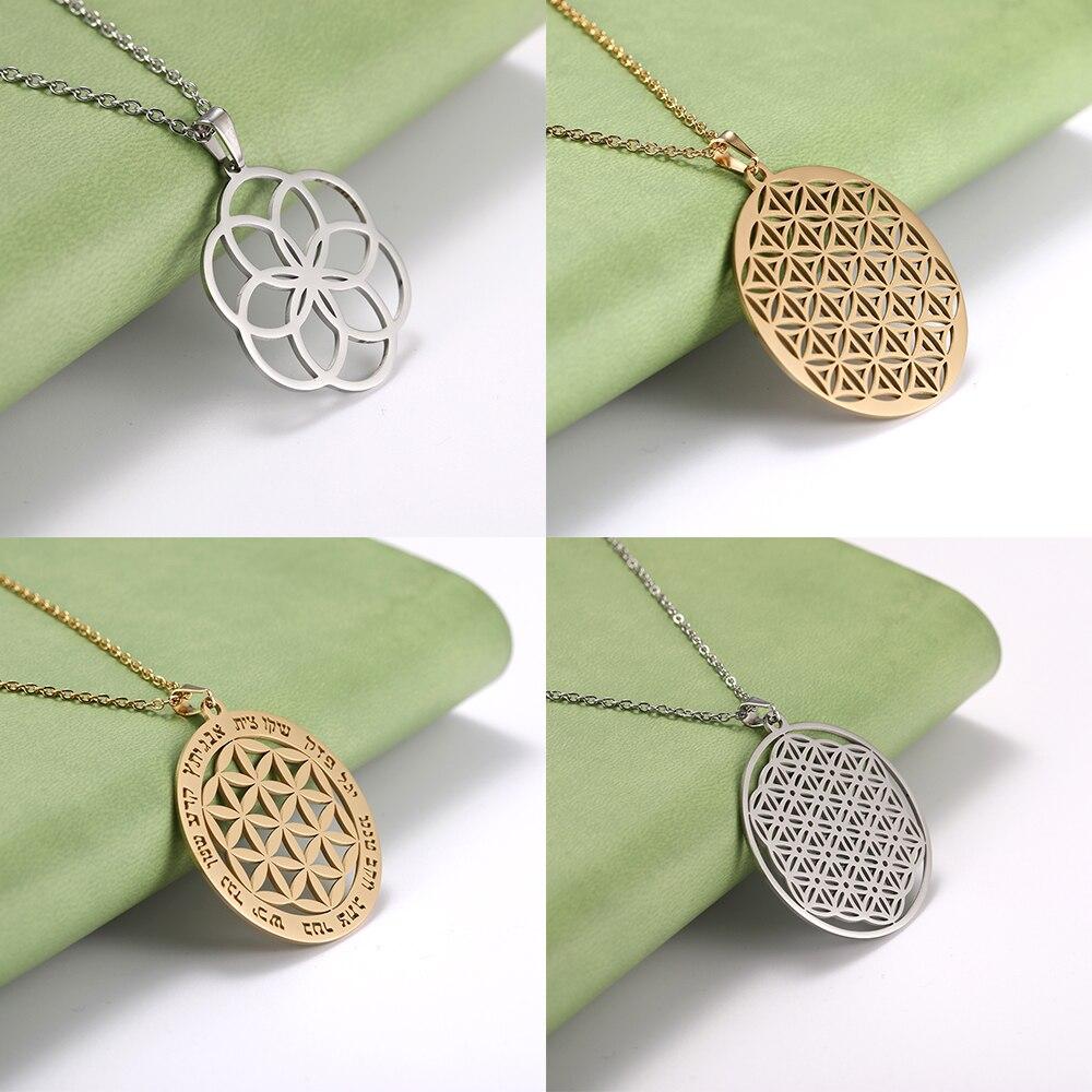Flor de vida feed ouro cor oco dreamcatcher colar talismã aço inoxidável declaração homem mulher pingente presente jóias