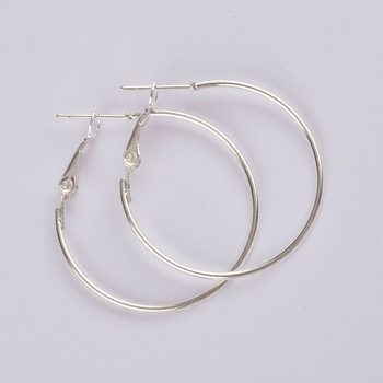 500pcs silver plated 30mm hoop earring findings round circle ring earrings jewelry findings accessories