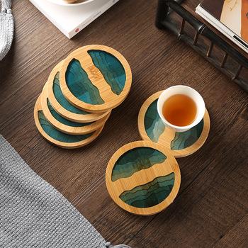 1 szt Chińskie podstawki podkładka bambusowa wodoodporna izolacja herbata kawa podstawka pod kubek stół dekoracyjny podkładka pod talerz kuchnia tanie i dobre opinie CN (pochodzenie) Bamboo coaster Ekologiczne Tradycyjny chiński ROUND 9X9X0 6cm Bamboo + resin Dropshipping