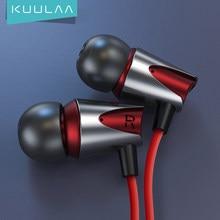 KUULAA Auriculares de sonido bajo en la oreja de 3,5mm con auriculares de cable de micrófono estéreo deportivos para teléfono móvil xiaomi iPhone Samsung