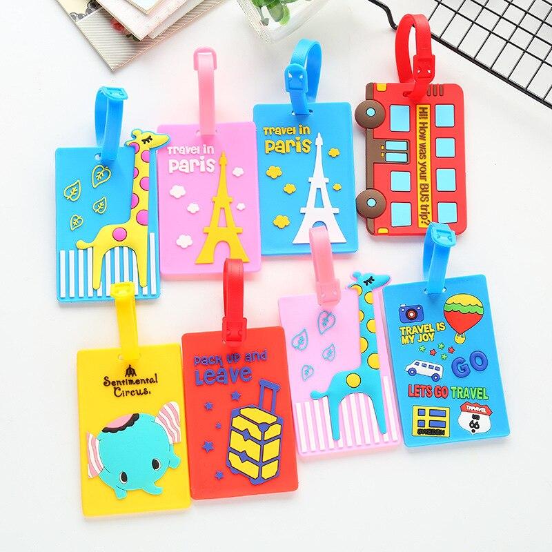 Cute Giraffe Suitcase Luggage Tag Cartoon Animals ID Address Holder Baggage Label Silica Gel Identifier Travel Accessories