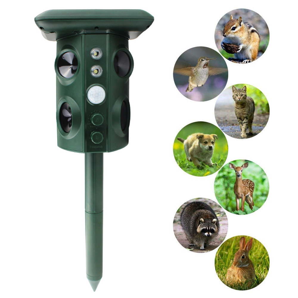 New Outdoor Ultrasonic Solar Pest Repeller Animal Pest Mouse Repeller PIR Sensor Garden Manor Farm Bird Cat Dog Fox Repellent