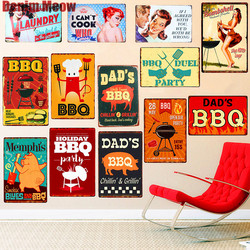 DAD'S BBQ meilleure viande rétro Plaque décor mural pour Bar Pub cuisine maison Vintage métal affiche Plaque métal signes peinture Plaque N075