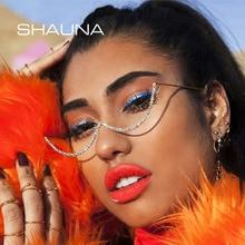 SHAUNA Fashion No Lens Punk Crystal Eyeglasses Frames Women Decorative Frame