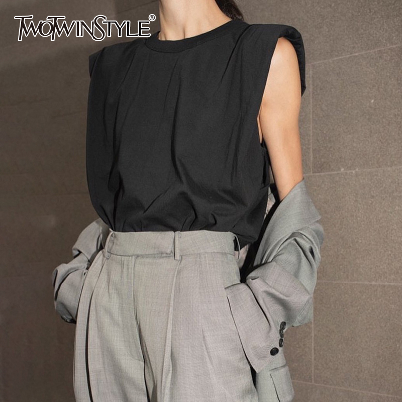 TWOTWINSTYLE Casual Women Tank Top O Neck Sleeveless Loose Ruched Streetwear Style Vest Female Fashion Clothing 2020 Spring Tide