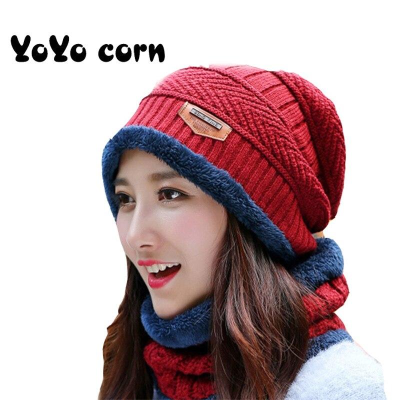 Yoyoco Knit Beanie Hat Ms. Thick Warm Beanie Hat Outdoor Riding Set Autumn And Winter Plus Cashmere Cap Men's Hat Bib Two-piece