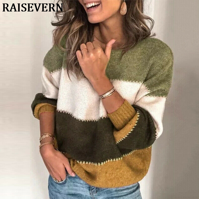 Women Sweater Pullover Round Neck Stripe Long Sleeve Sweater Top Fashion Autumn Winter Knitted Jumper Tops