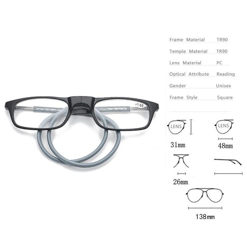 Occhiali da lettura per collo appeso ad assorbimento magnetico TR di alta qualità per uomo e donna occhiali da lettura magnetici portatili 2