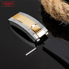 Stainless Steel WatchBand Buckle For rolex Watch Strap 16mm watches bottom Fold Clasp Use on Leather or Rubber Watchband Screw
