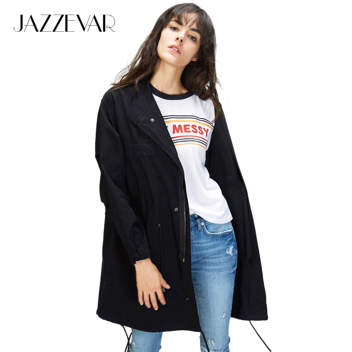 JAZZEVAR Autumn New Women's Casual Trench Army Green Md-Long version Outerwear Cotton Vintage Washed Loose Clothing